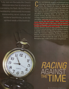 Racing Against The Time, PASUGO December 2014 publication